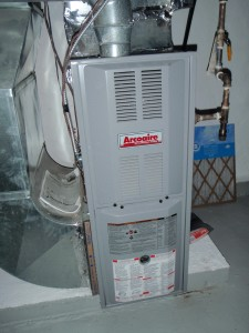 Furnace draws combustion air from house